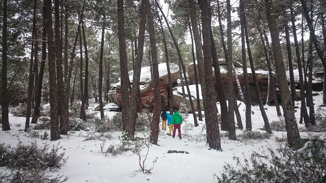 Exploring a very snow covered Techos sector in Albarracin, Spain