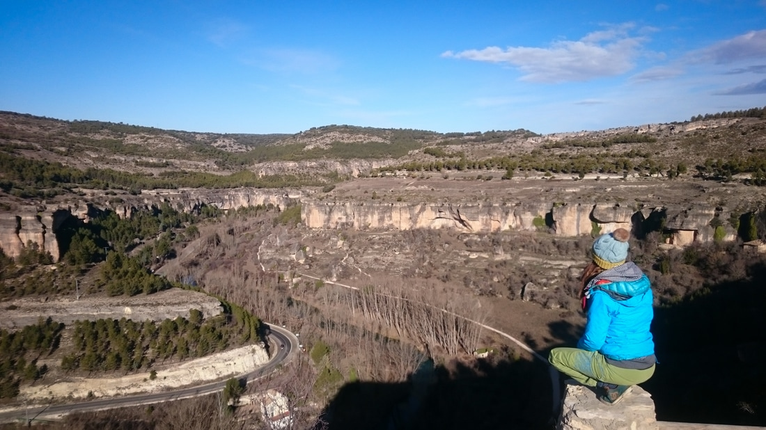 Amber perched above the gorge at Cuenca on a sunny winter's morning