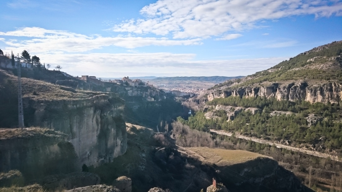 Looking down the gorge to the city of Cuenca, Spain
