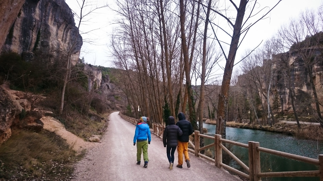 Amber, Frances and Will taking a walk through the gorge at Cuenca, Spain