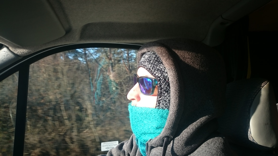 Sam sporting the essential winter wear for driving in sub zero conditions.