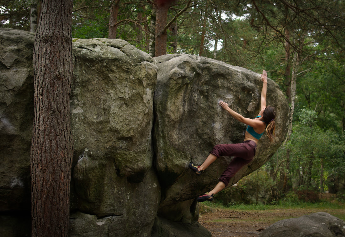 Amber on Red no.4 at Canche aux Merciers. Classic Fontainebleau bouldering
