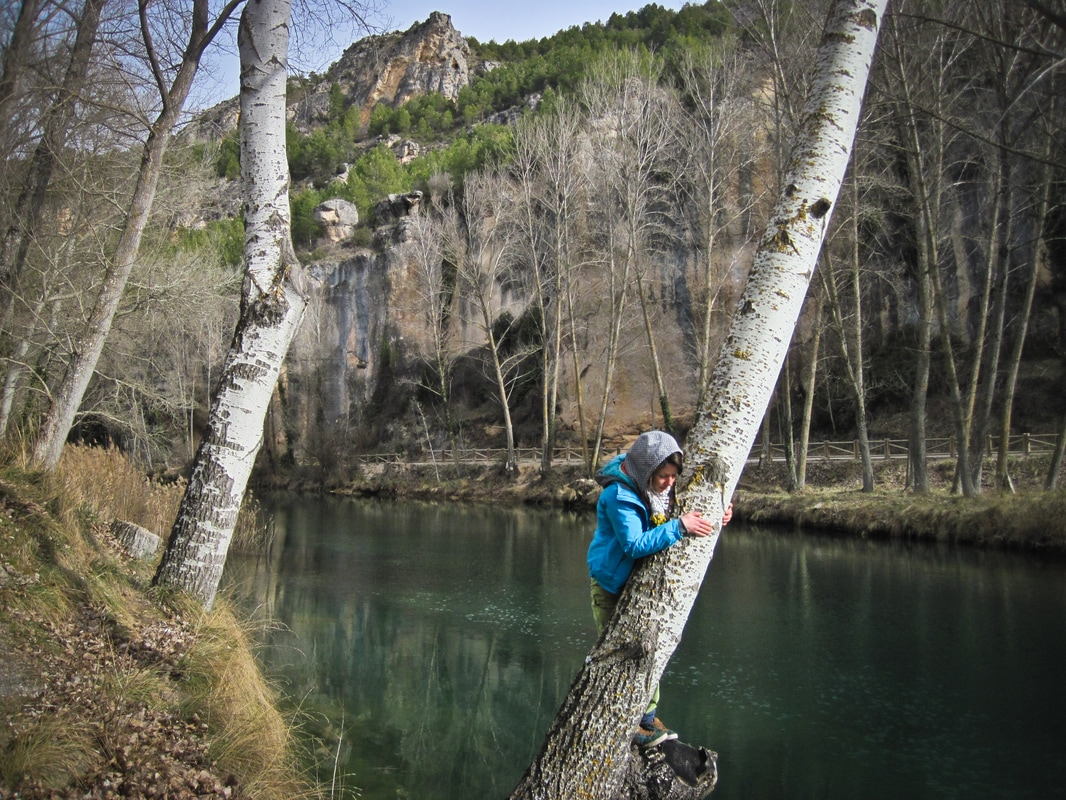 Playing in the trees by the river in the Cuenca gorge.