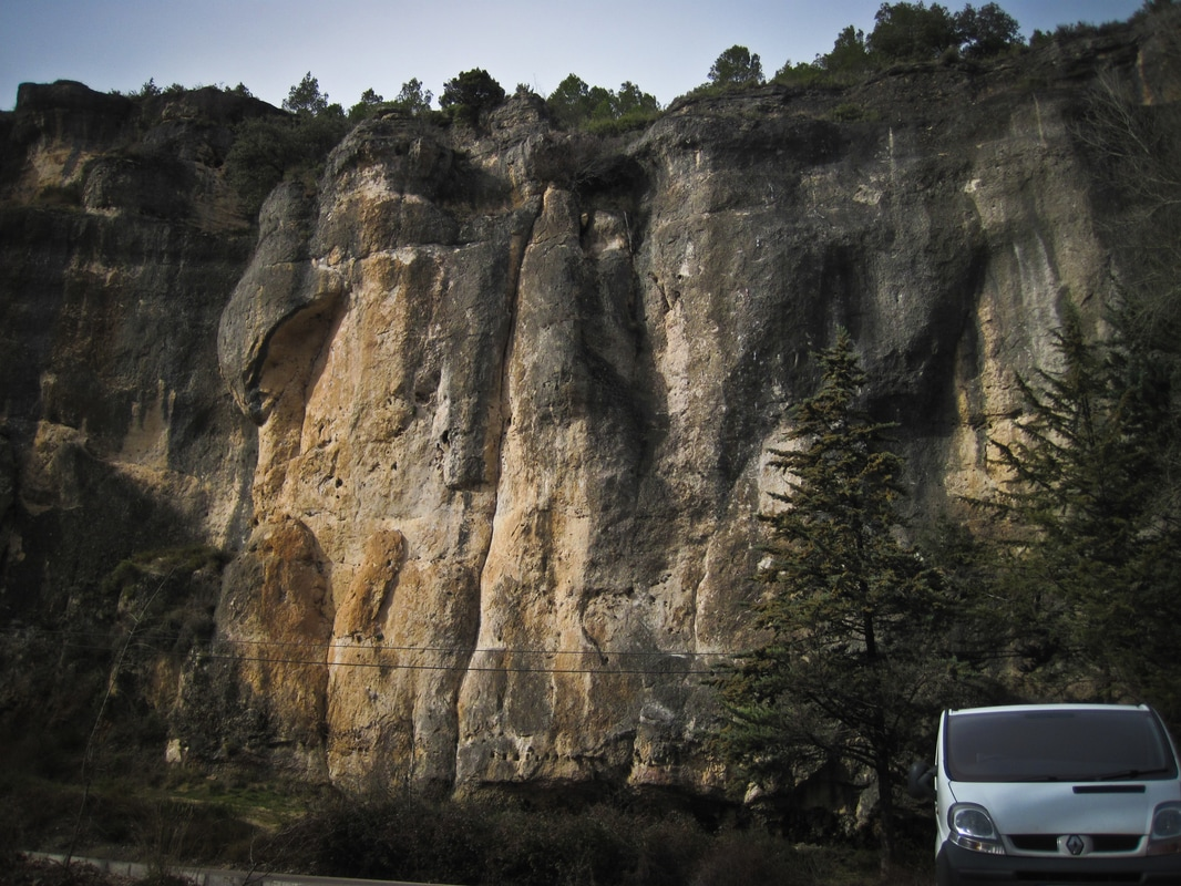 The Renault Trafic parked up at Cuenca, ready to climb.