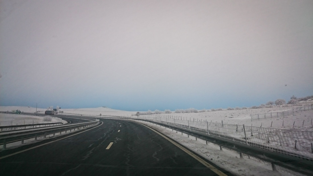 The frozen highway over the Massif Central in France