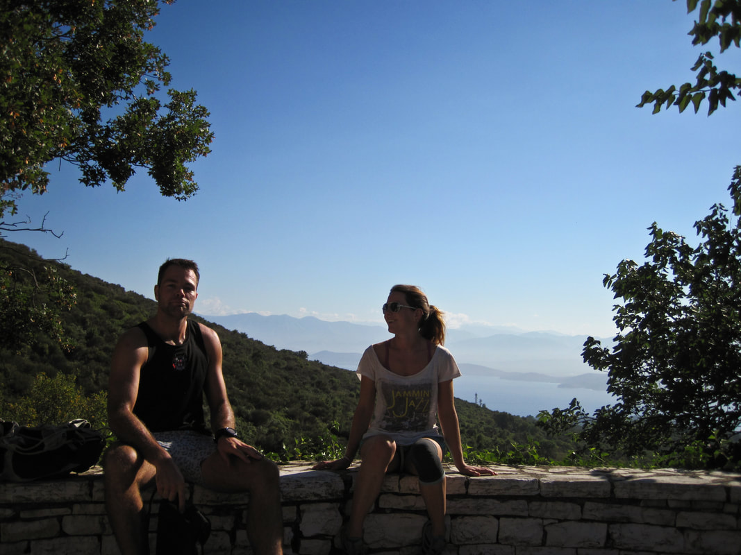 Taking a breather en route to the top of Mount Pantokrator, Corfu