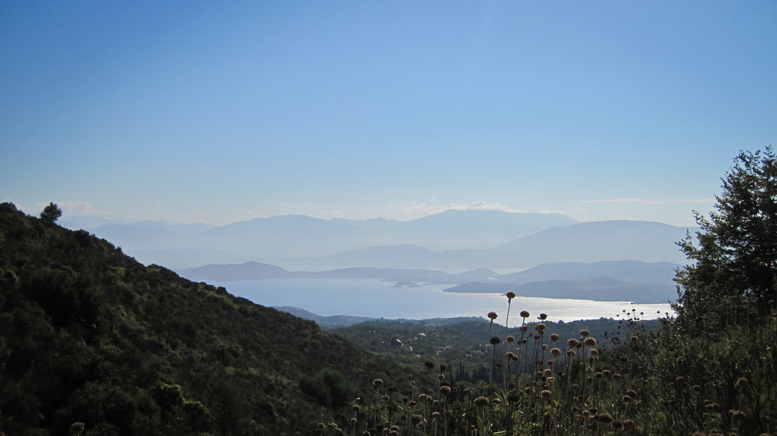 Looking across to Albania from the balcony at Megoulas, Corfu