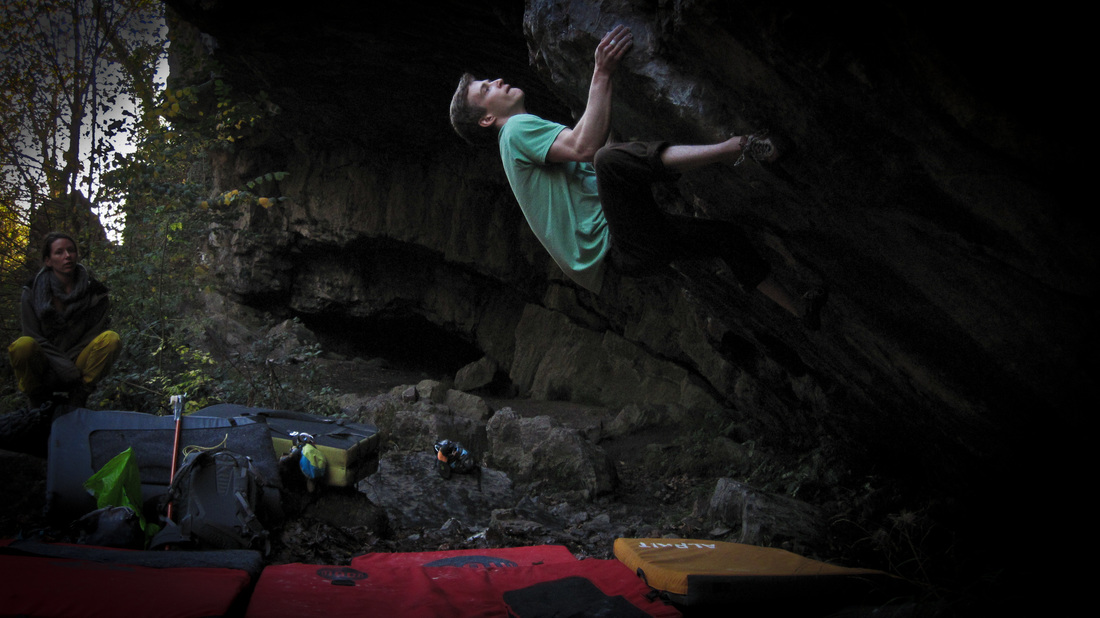 Jonny Kydd on Jed Black (8a) at Dinas Rock