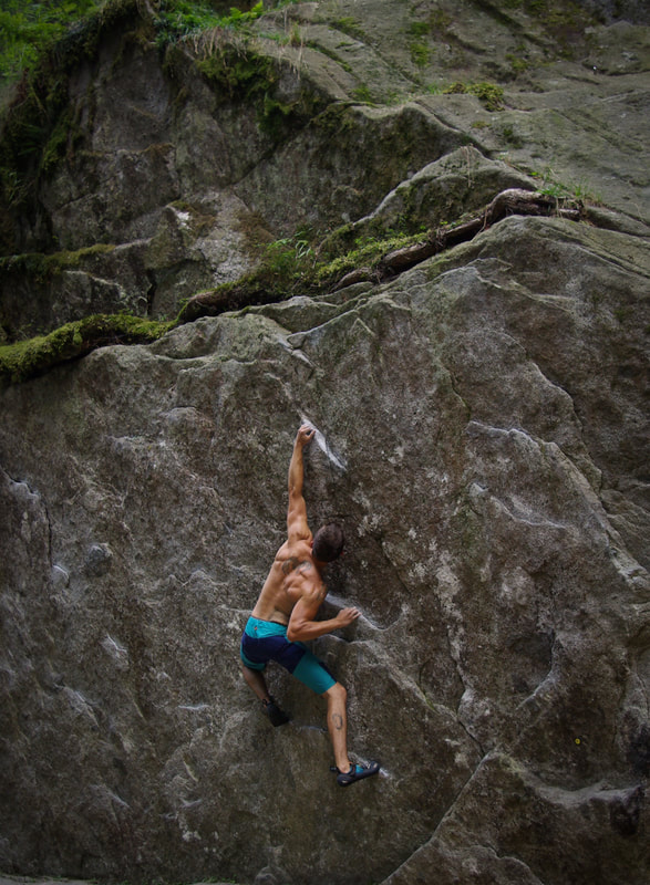 Beautiful granite bouldering in Val Daone Boulder Park, Italy