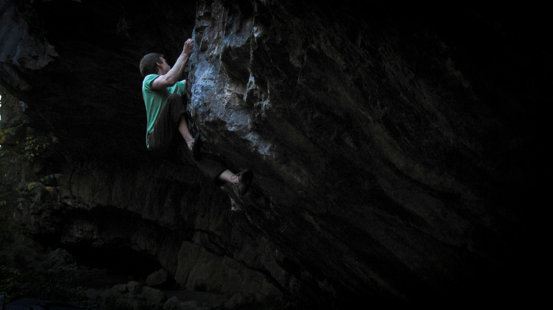 Jonny Kydd climbing Jed Black at Dinas Rock, South Wales.