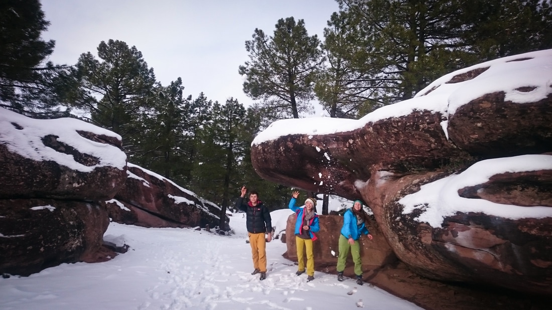 Snow covered boulders at Parking sector in Albarracin