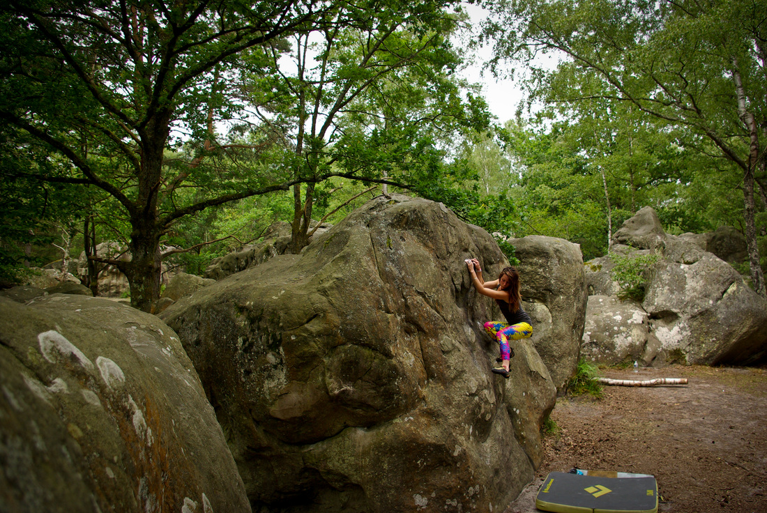 Amber Thornton climbing on the rocks at Canche aux Merciers, Fontainebleau