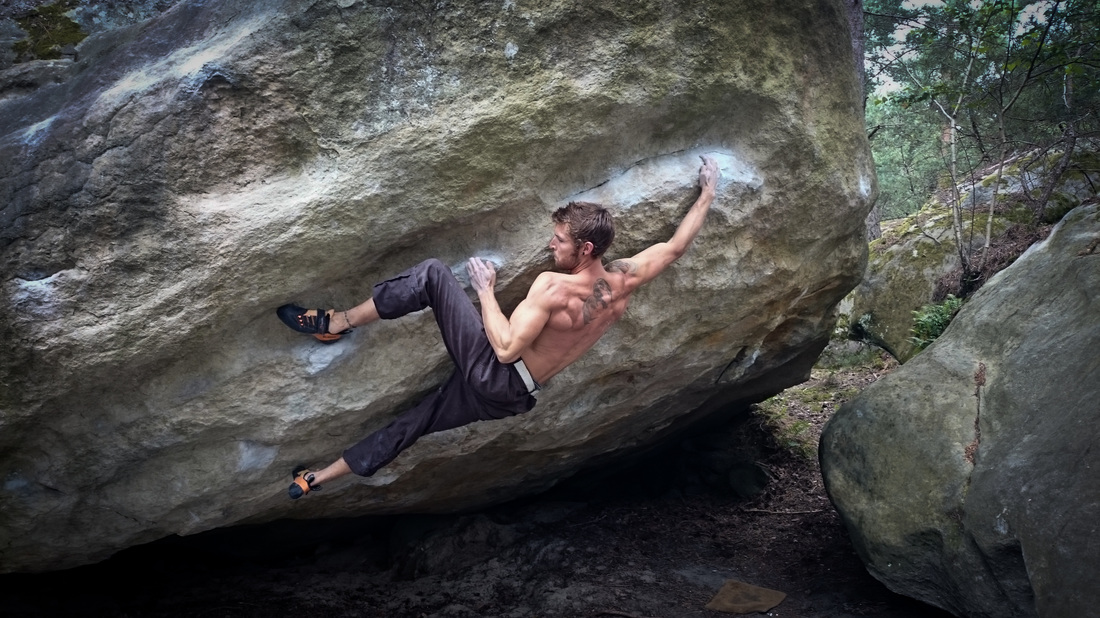 Sam Hunter bouldering in Fontainebleau