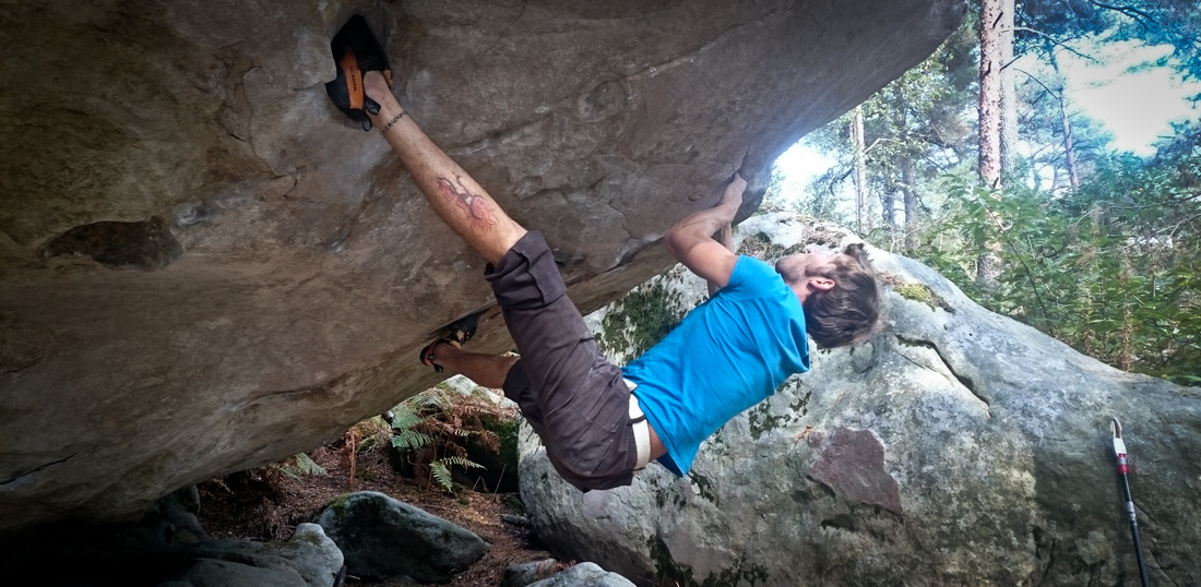 Sam on Opium (8a), at Recloses in Fontainebleau