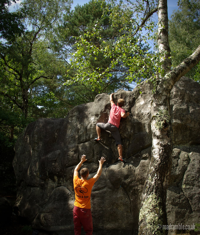 Mathias Zetterqvist getting his highball boulder on in the forest of Fontainebleau