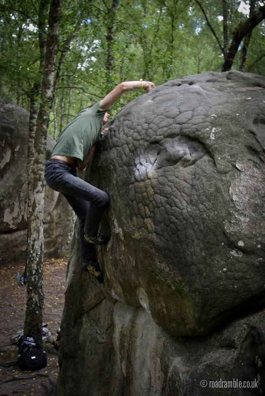 Finn Cooley throwing some shapes at Franchard Isatis in the forest of Fontainebleau