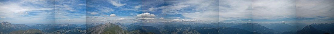 Panoramic photograph of the haute savoie and french Alps from the summit of Mont Charvin