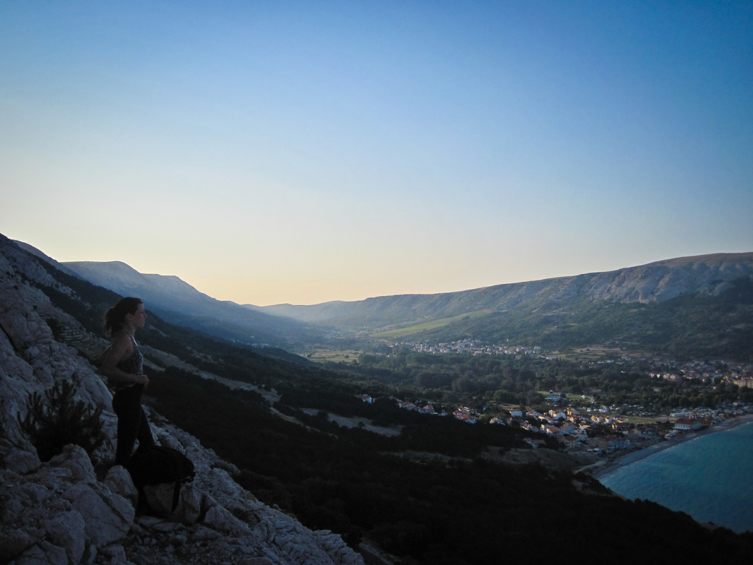 On the mountain side looking down over the town of Baska, Krk Island, Croatia