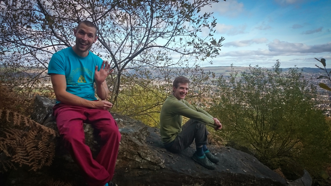 Two idiots on a rock at Neath Abbey, south Wales.