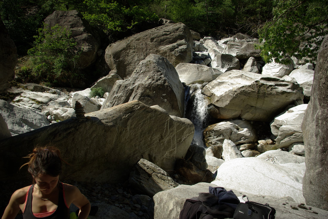 Water washed gneiss blocs at Schattental in Chironico, Switzerland