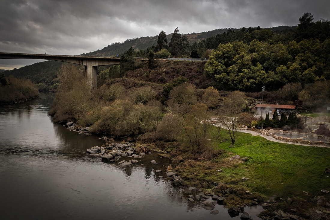 View of the Ourense hot springs from the pedestrian bridge
