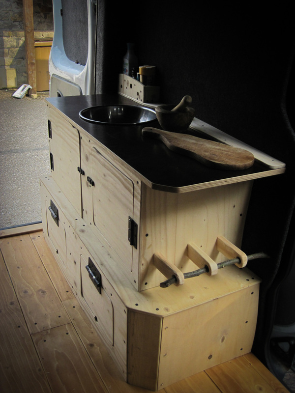 Homemade wooden kitchen unit for van conversion