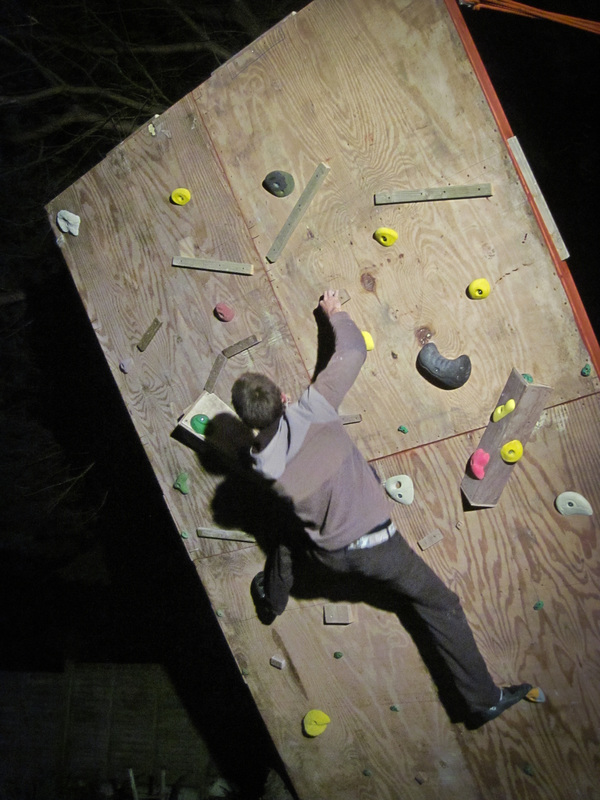 Night bouldering on the home climbing wall