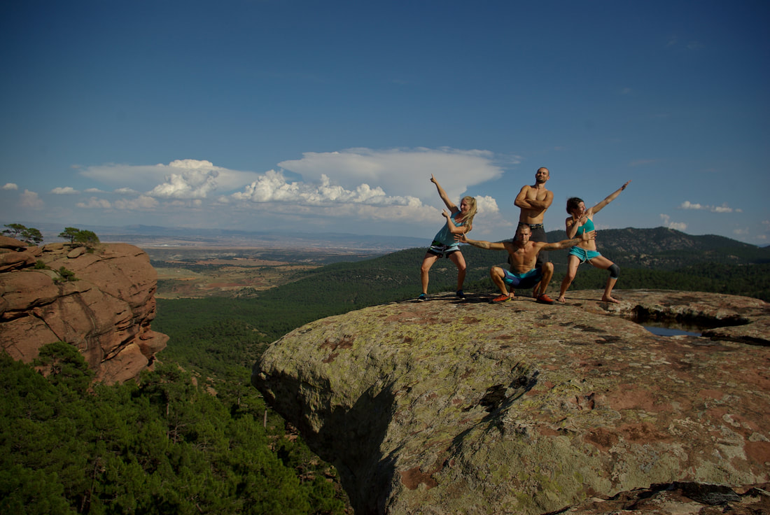 Four idiots on top of the world. Admiring the view from the top of Peninsula sector in Albarracin.