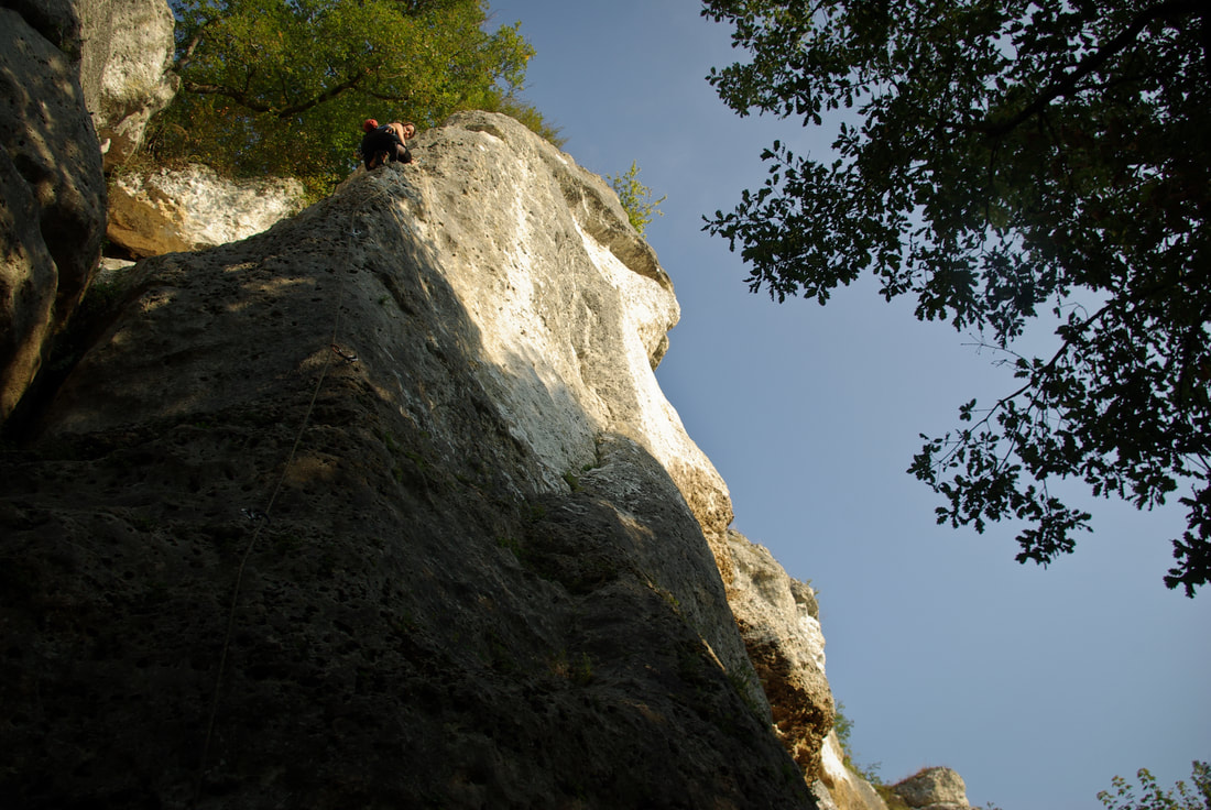 Amber Thornton climbing at La Guignoterie, France.