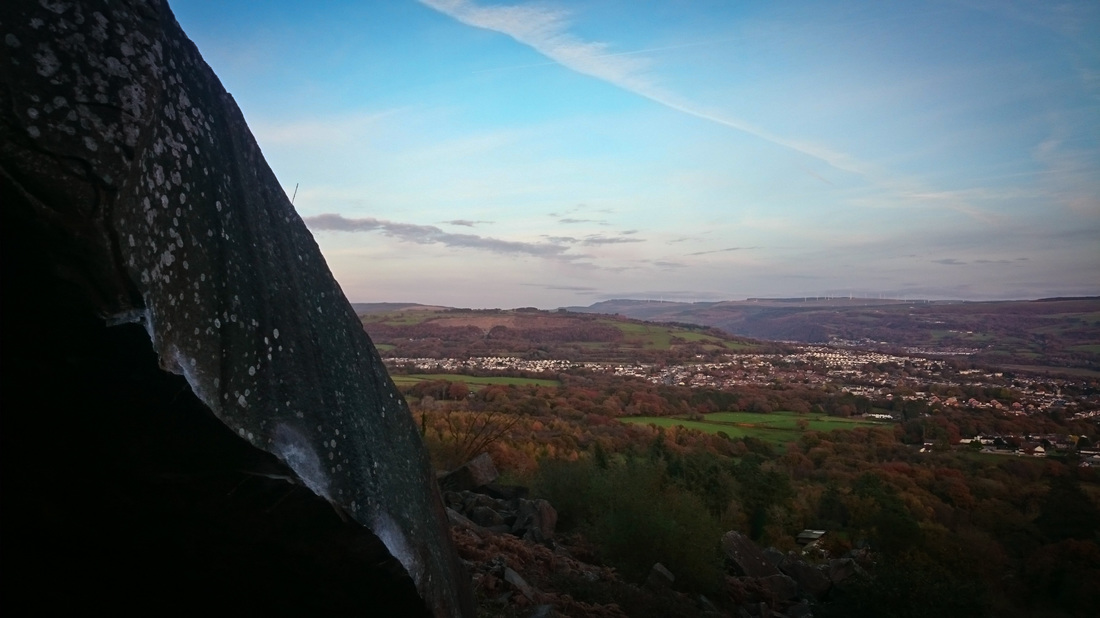 View across Neath from the Half-State boulder at Neath Abbey quarry.