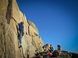 Highballing Head-Rush (E1 5a) at Penberth